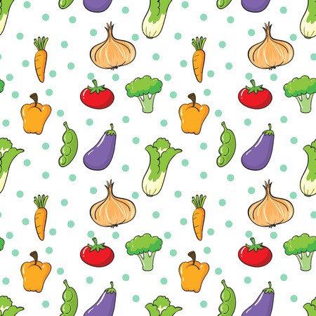 Illustration of the seamless design with vegetables and spices on a white background Vector