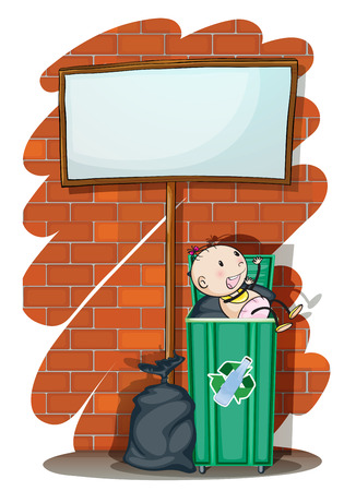 space rubbish: Illustration of a baby inside the trashcan below an empty signboard on a white background