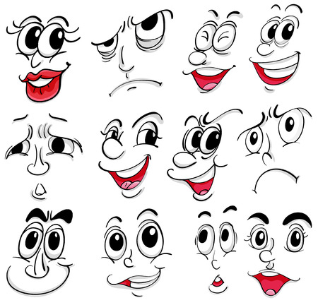 scowl: Illustration of the different facial expressions on a white background Illustration