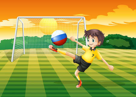 kicking ball: Illustration of a girl kicking the ball with the Russian flag Illustration