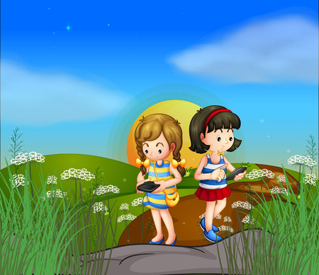 plant cell: Illustration of the two girls at the hilltop using their cellphones Illustration
