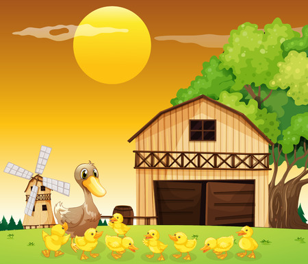 Illustration of a duck and her ducklings outside the farmhouse Vector