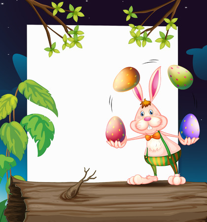 Illustration of an empty template with a bunny juggling the eggs Vector