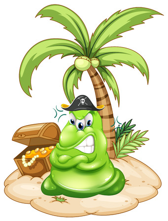 island isolated: Illustration of an angry pirate monster in the island with a treasure on a white background
