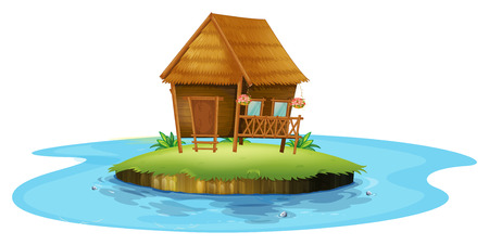 Illustration of an island with a small nipa hut on a white background Vector