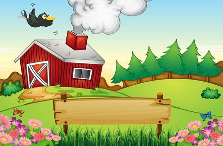 barnhouse: Illustration of a farm with an empty signboard Illustration