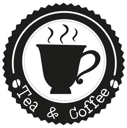 espresso cup: Illustration of a tea and coffee label on a white background Illustration
