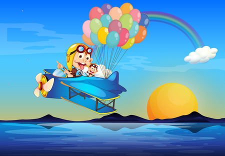 Illustration of a plane with monkeys and balloons Vector