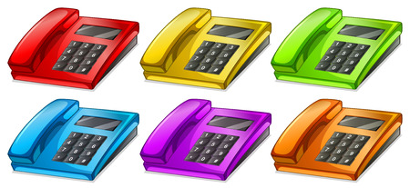 Illustration of the colorful telephones on a white background Vector