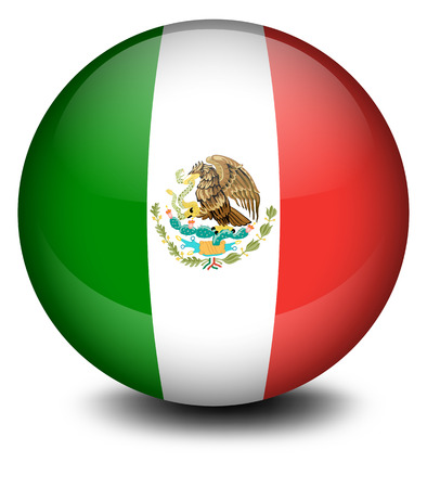 flag mexico: Illustration of a soccer ball from Mexico on a white background