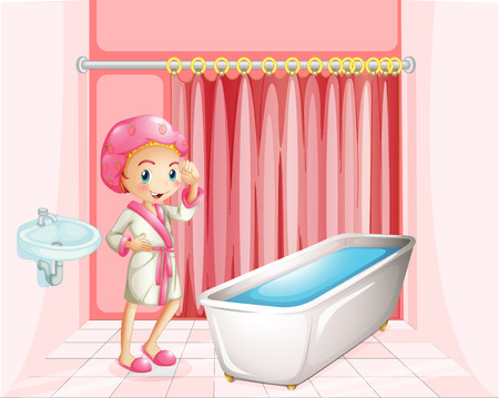 bathe: Illustration of a young lady taking a bath in the bathroom