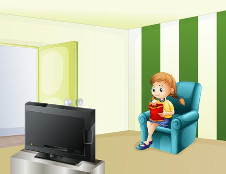 Ilustración de una niña viendo la televisión mientras se come Vectores