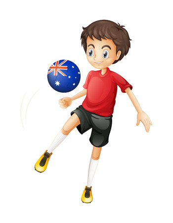 Illustration of a football player using the ball with the Australian flag on a white background Vector