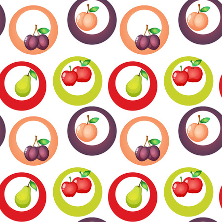 apples and oranges: Illustration of a seamless design with fruits on a white background