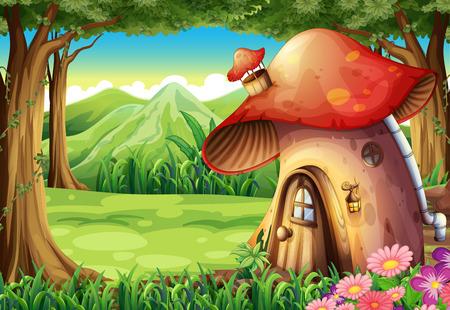 버섯 하우스와 함께 숲의 그림