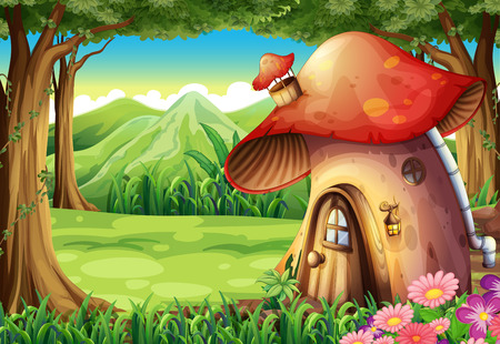 Illustration of a forest with a mushroom house Ilustração