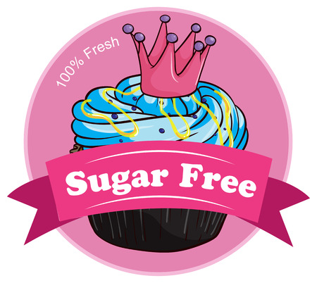 Illustration of a pink sugar free label on a white background Vector