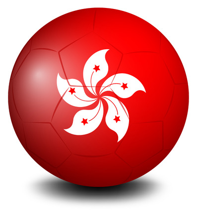 footwork: Illustration of a soccer ball with the HongKong flag on a white background