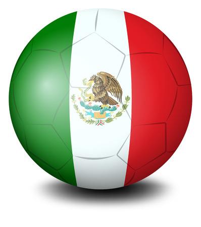 mexican flag: Illustrazione di un pallone da calcio con la bandiera messicana su uno sfondo bianco Vettoriali