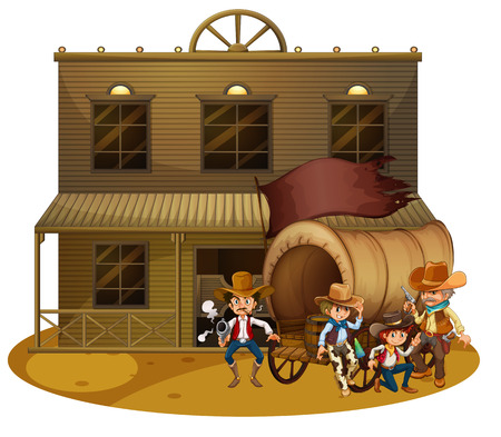 Illustration of the Western people outside the wagon on a white background Illustration