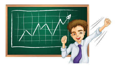 Illustration of a happy businessman in front of the board on a white background Vector