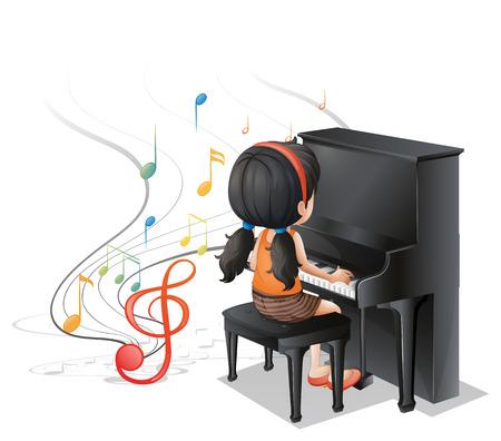 白い背景にピアノと遊ぶ若い女の子のイラスト