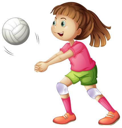 girl sport: Illustrazione di un giovane giocatore di pallavolo su uno sfondo bianco Vettoriali