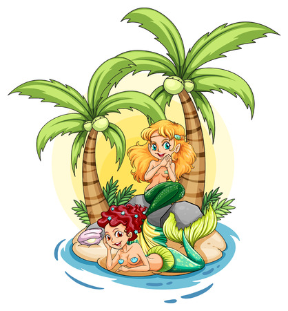 Illustration of an island with two mermaids on a white background Vector
