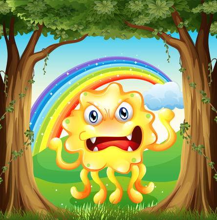 hillside: Illustration of an angry monster at the jungle
