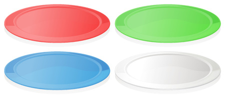 melaware: Illustration of the colorful plates on a white background Illustration