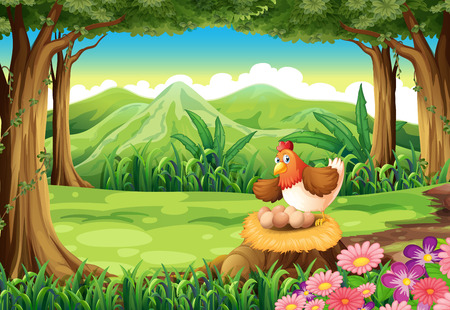 Illustration of a hen hatching eggs above the stump at the forest Vector