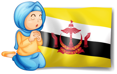brunei: Illustration of a lady near the flag of Brunei on a white background