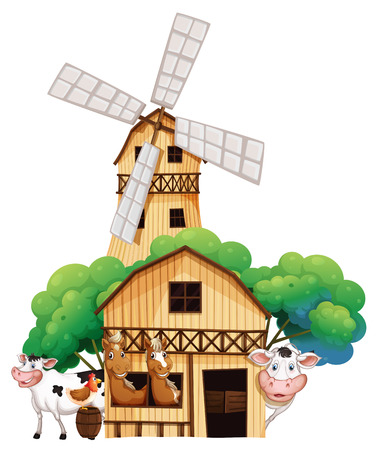 Illustration of a barn at the farm with animals on a white background Vector
