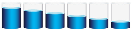 Illustration of the six beakers on a white background Vector