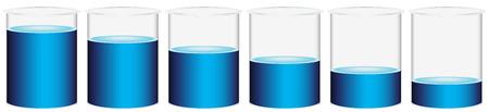 Illustration of the six beakers on a white background Illustration