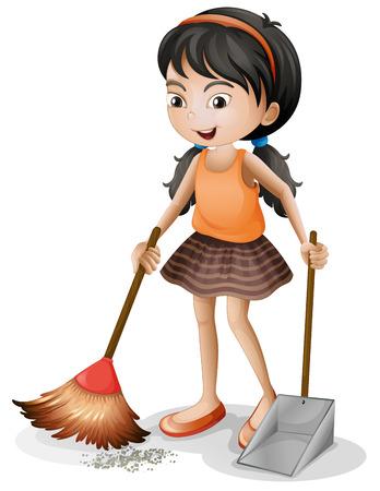 chores: Illustratie van een jong meisje vegen op een witte achtergrond