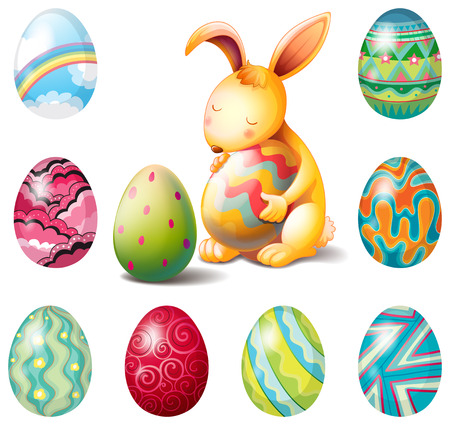 Illustration of a group of Easter eggs and a sweet bunny on a white background Vector