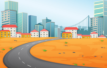 Illustration of a narrow road going to the city Vector