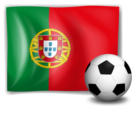 sides: Illustration of a soccer ball in front of the Portugal flag on a white background Illustration