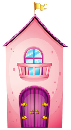 Illustratie van een roze kasteel op een witte achtergrond