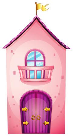 Illustration d'un château rose sur un fond blanc Banque d'images - 27137750