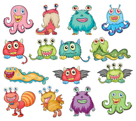 Illustration of the cute and colorful monsters on a white background Vector