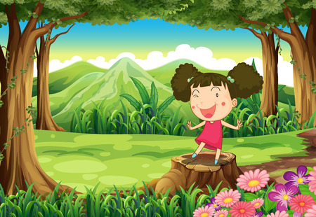 Illustration of a cute little girl above the stump at the forest Vector
