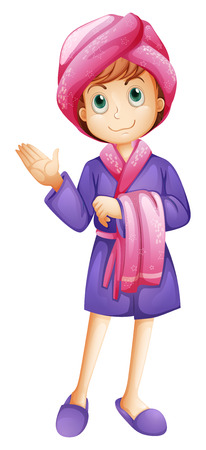 refreshed: Illustration of a fresh girl wearing a bathrobe on a white background Illustration
