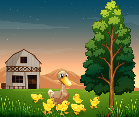 Illustration of a duck and her ducklings across the barnhouse at the farm Vector