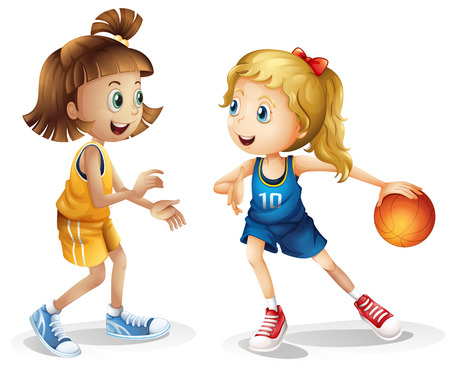 little league: Illustration of the female basketball players on a white background
