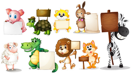Illustration of the animals with empty signboards on a white background Vector