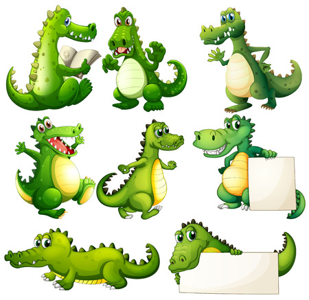 Illustration of the eight scary crocodiles on a white background