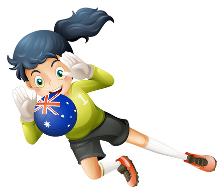 Illustration of a player using the ball from Australia on a white background Vector