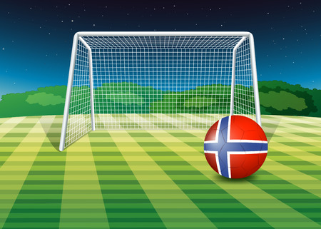 Illustration of a ball at the field with the flag of Norway Vector